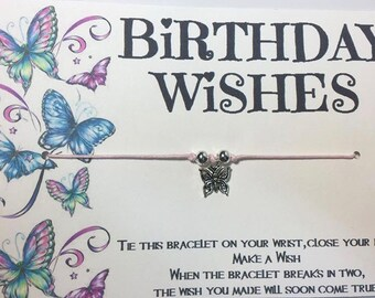 Birthday wish bracelet.Butterfly Birthday wish bracelet.Butterfly wish bracelet.Friendship bracelet.Butterfly charm bracelet.Birthday wishes