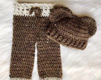 Crochet/Knit/Handmade Baby Bear Newborn Photo Prop Outfit/Set
