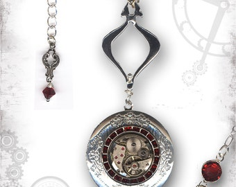 Red Crystal and Silver Steampunk Locket - Za Dee Da Time Traveller Collection - Encircled in Time