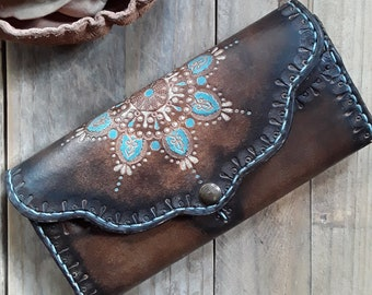 Hand Tooled Leather Wallet - Hand Carved Wallet - Carved Purse - Mandala Wallet - Tooled Women's Wallet