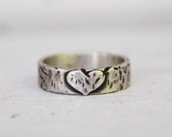 Sterling Silver Heart Band - SIze 7.5 - Rustic Handmade Wedding Band  - Bohemian Ring - Gift For Her - Love Weathers any Storm
