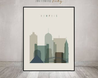 Memphis art print, Poster, Wall art, Memphis skyline, Tennessee cityscape, Office decor, Travel decor, Home decor, Gift, ArtPrintsVicky