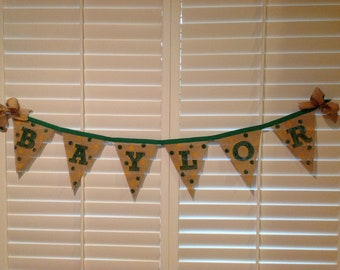 Baylor banner burlap hand painted