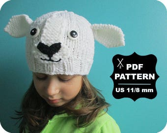 English-French Two Needle KNITTING PATTERN / Digital Download / #56 / Knitted Sheep Hat / 6-16M to 5 years-Adult / US11 / 8mm