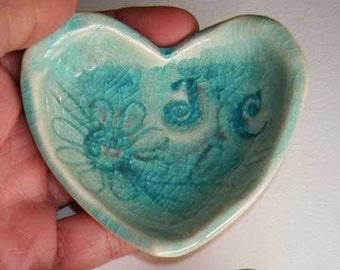12 Valentine Ceramic Heart ring dish custom initials made to order wedding favor you choose color design monogram date