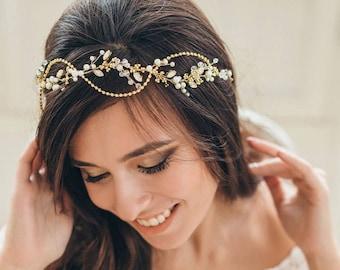 GLIMMERY GOLD   Wedding headpiece bridal hair vine golden bridal tiara
