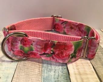 Floral martingale dog collar, spring martingale collar, pink greyhound collar, greyhound martingale, no slip collar, training collar