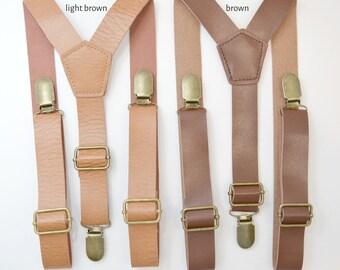 Vintage Style SUSPENDERS / Faux Leather Brown Rustic Suspenders brass clasps / 1 inch wide / Mens Kids Baby Adult Teen Suspenders