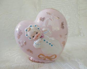 vintage ceramic Shafford heart shaped planter- baby, pink, birds