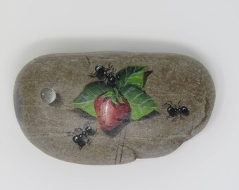 Strawberry Painted Rock