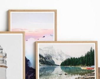 Mountain Range - Home Decor - Moraine Lake - Landscape Photography - Hiker - Hiking - Mountain - Outdoors - Gift Ideas - Mountains Calling