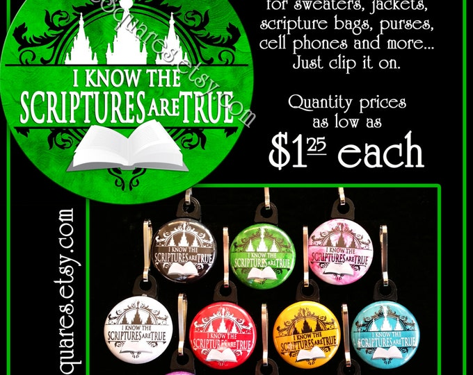 """Zipper Pulls """"I Know The Scriptures Are True"""" LDS Gifts - 2016 Primary Theme - Birthdays, Girls Camp, Missionaries Gifts YW Scripture Bag"""
