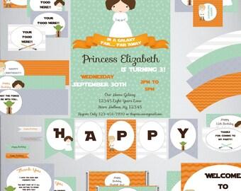 Princess Leia-Orange Mint-Birthday Printable Set-DIY Printable-Instant Download-Editable File using Adobe Reader-Banner-Labels-Tags-Toppers