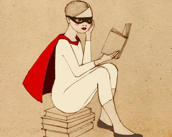 Superhero Reader Girl Deluxe Edition Print of original drawing