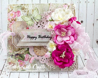 Shabby Chic Layered Happy Birthday Greeting Card