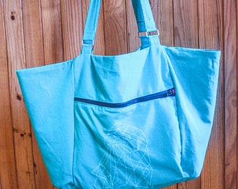 """Large Crossbody bag in turquoise cotton """"Eagle ice"""""""