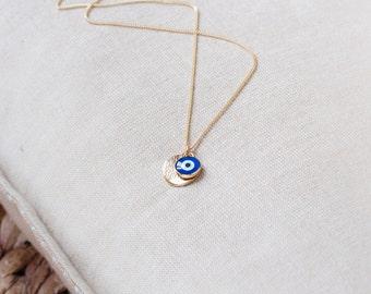 Collier Oeil Grec avec Chaîne Or Rempli 14k, Collier Boho Délicat Collier Amulette Collier Protecteur Nazar Boncuk Bijoux Oeil Mauvais