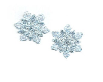 "Set Of 2 - (1 1/8"") Snowflake - Snowflakes - Light Blue Iron On Applique Patch"