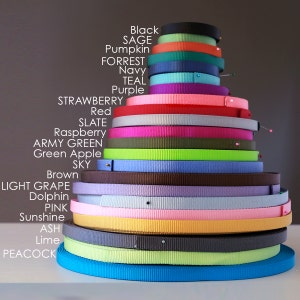 """Nylon Webbing by the Yard --  5/8"""" and 1"""" width Heavy Weight-- 22 colors to choose from --"""