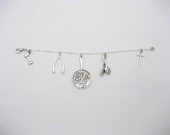 Food Charm Bracelet, Food Bracelet, Chef Charm Bracelet, Chef Bracelet, Cooking Bracelet, Breakfast Bracelet, Breakfast Jewelry, Foodie