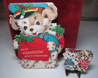 Sweet unused 1950's Norcross die cut Double-Wish christmas card to Grandson big card is dog mailman holds letter w/mini card kitten, puppy