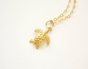 Gold Baby Sea Turtle necklace. Gold filled, Vermeil, Beach jewelry, Turtle Necklace, Sea Life
