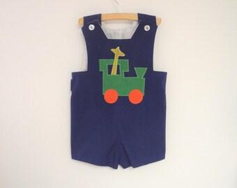 Vintage Baby Clothes, 1970's Handmade Sleeveless Navy Blue Baby Boy Romper, Vintage Baby Romper, Blue Baby Romper, Baby Romper, Size 3T-4T