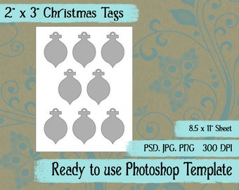 "Scrapbook Digital Collage Photoshop Template, 2"" x 3"" Christmas Ornament Tags"