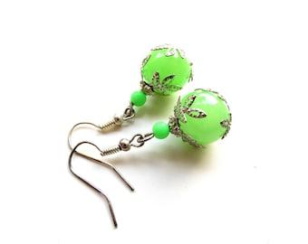 Apple green silver leaf earrings