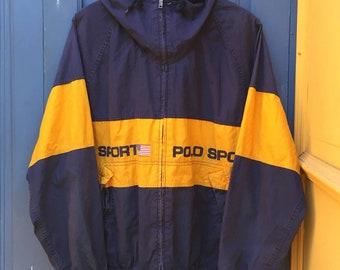90s Polo Sport Color Block Hooded Windbreaker