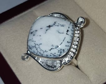 Sterling Dendritic Agate Ring ~ Silver Dendritic Agate Ring Size 8 1/2
