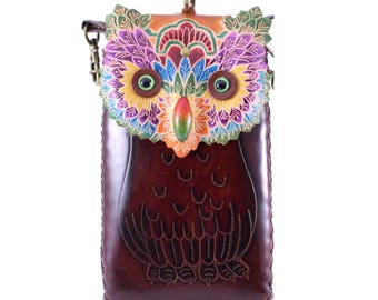 Multi colored leather owl cell phone case cross body purse