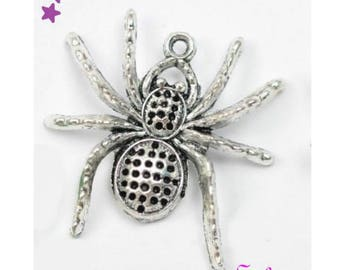 1 large spider 25 x 25 mm 3D sterling silver