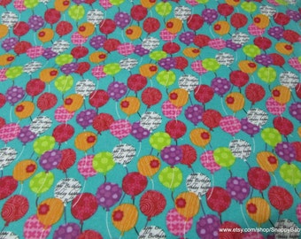 Flannel Fabric - Happy Birthday Balloons - By the yard - 100% Cotton Flannel