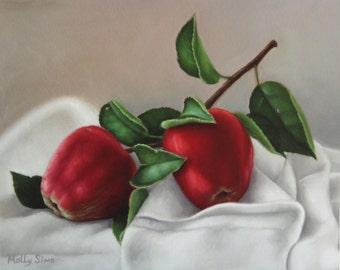 Print sale - Red Apples - Fruit oil painting - Realistic - Wall art - Fruit art - Open Edition Print
