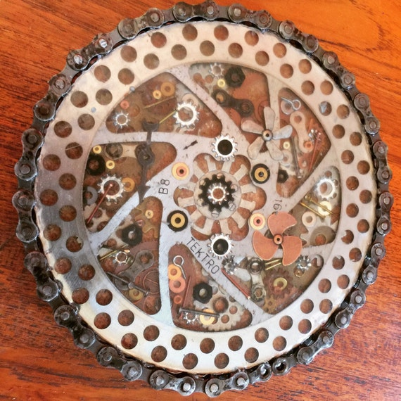 Upcycled, Eclectic, One-Of-A-Kind, Bicycle trivet, Gear Trivet, Table Art, Funky, Edgy
