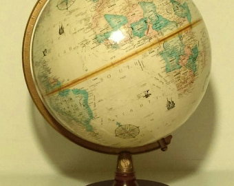 Vintage Replogle 9 Inch Table Top Globe 2 Dimensional Raised Texture With  Round Dark Hard