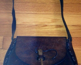 Leather Hippie Purse Bag Vintage Hippy Hand Tooled Rich CHOCOLATE BROWN Leather Handbag Purse Circa 1960s AUTHENTIC One-of-a-Kind