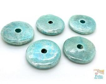1 large 30mm ceramic Greek blue enameled (pc224) donut