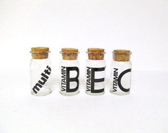 Vintage  Apothecary Jar, Bottle, Clear Glass, Bold Black Lettering, Cork Stopper, Vitamin E, B, C, Multi