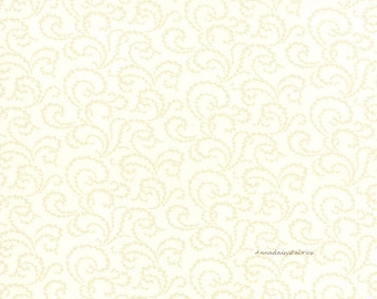 Cream Swirl Fabric, 3 Sisters Favorites Moda 3732 11 China White, Cream Blender Quilt Fabric, Cotton