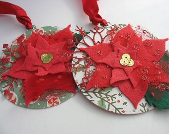 Christmas Gift Tags~Poinsettia Deluxe Gift Tags~set of 2~Round Christmas gift tags~hang tags~deluxe gift tags~winter flowers