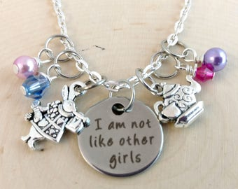 "Necklace inspired by ""Alice in Wonderland-I am not like other girls!"".  Disney,Alice in Wonderland,Jewelry, Disney Necklace,Rabbit,Teacup"