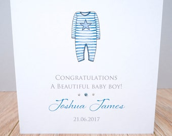 Personalised New Baby Boy Card - Handmade Personalised Baby Card - Personalised New Baby Cards