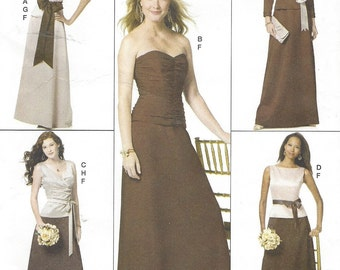 Womens Evening Tops, Skirt & Sash Bodice Variations Butterick Sewing Pattern B5419 Size 8 10 12 14 Bust 31 32 34 36 UnCut