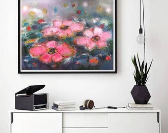 Pink and Navy floral abstract Print, dining room art, horizontal poster, over the sofa art in Navy Blue and Blush pink, Oversized flowers