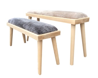 Sheepskin Solid Wood Bench