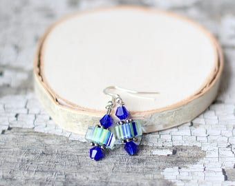 Cobalt Blue Earrings, Blue Crystal Earrings, Cane Glass Jewelry, Green Blue Striped, Mother's Day Gift, Gifts for Mom, Gifts for Women