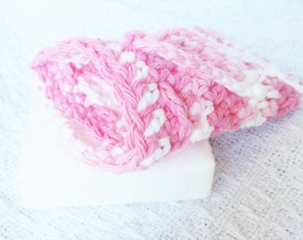 Pink and White Crocheted Soap Bag Soap Saver Cotton with Drawstring by Distinctly Daisy