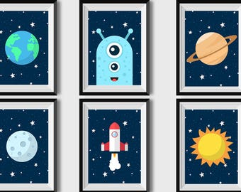 Outer Space Kids Art Print Boy Nursery wall art Rocket Ship Baby Boy Printable Boys Room Decor Stars Digital Nursery Art Planets prints Blue